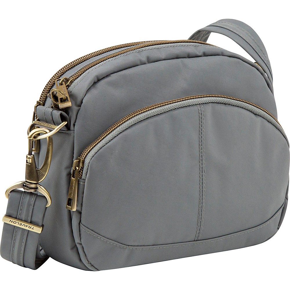 Travelon Anti-Theft Signature E/W Shoulder Bag Pewter - Exclusive Color - Travelon Fabric Handbags - Handbags, Fabric Handbags