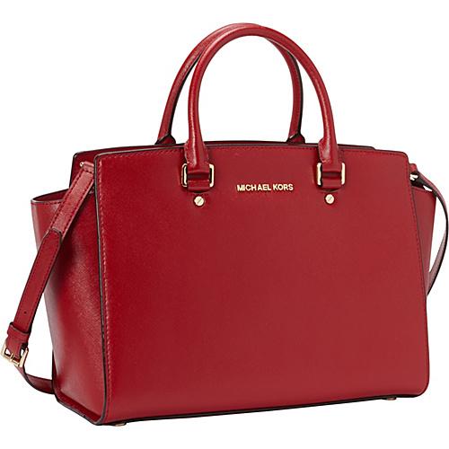 MICHAEL Michael Kors Selma Large Top Zip Satchel Scarlet - MICHAEL Michael Kors Designer Handbags