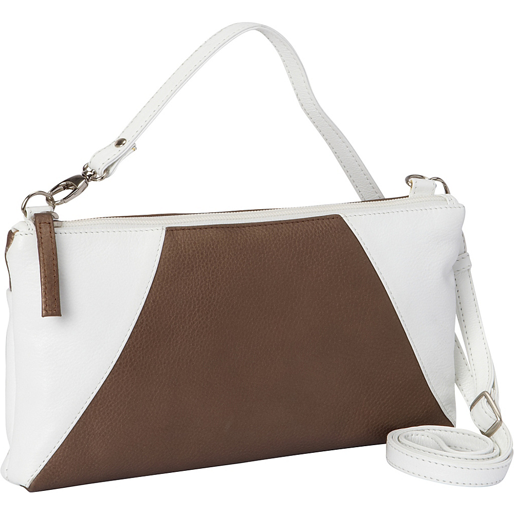 Derek Alexander EW Top Zip Clutch White and Bronze - Derek Alexander Leather Handbags - Handbags, Leather Handbags