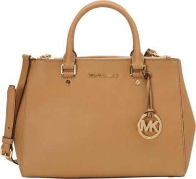 MICHAEL Michael Kors Sutton Medium Satchel Peanut - MICHAEL Michael Kors Designer Handbags