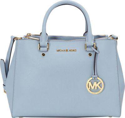 MICHAEL Michael Kors Sutton Medium Satchel Pale Blue - MICHAEL Michael Kors Designer Handbags
