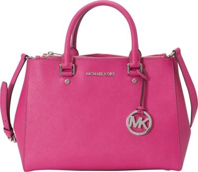 MICHAEL Michael Kors Sutton Medium Satchel Fuschia - MICHAEL Michael Kors Designer Handbags