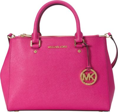 MICHAEL Michael Kors Sutton Medium Satchel Fuschia - MICHAEL Michael Kors Designer Handbags