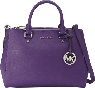 MICHAEL Michael Kors Sutton Medium Satchel Grape - MICHAEL Michael Kors Designer Handbags