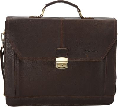Vicenzo Leather Professional Full Grain Leather Briefcase Dark Brown - Vicenzo Leather Non-Wheeled Business Cases