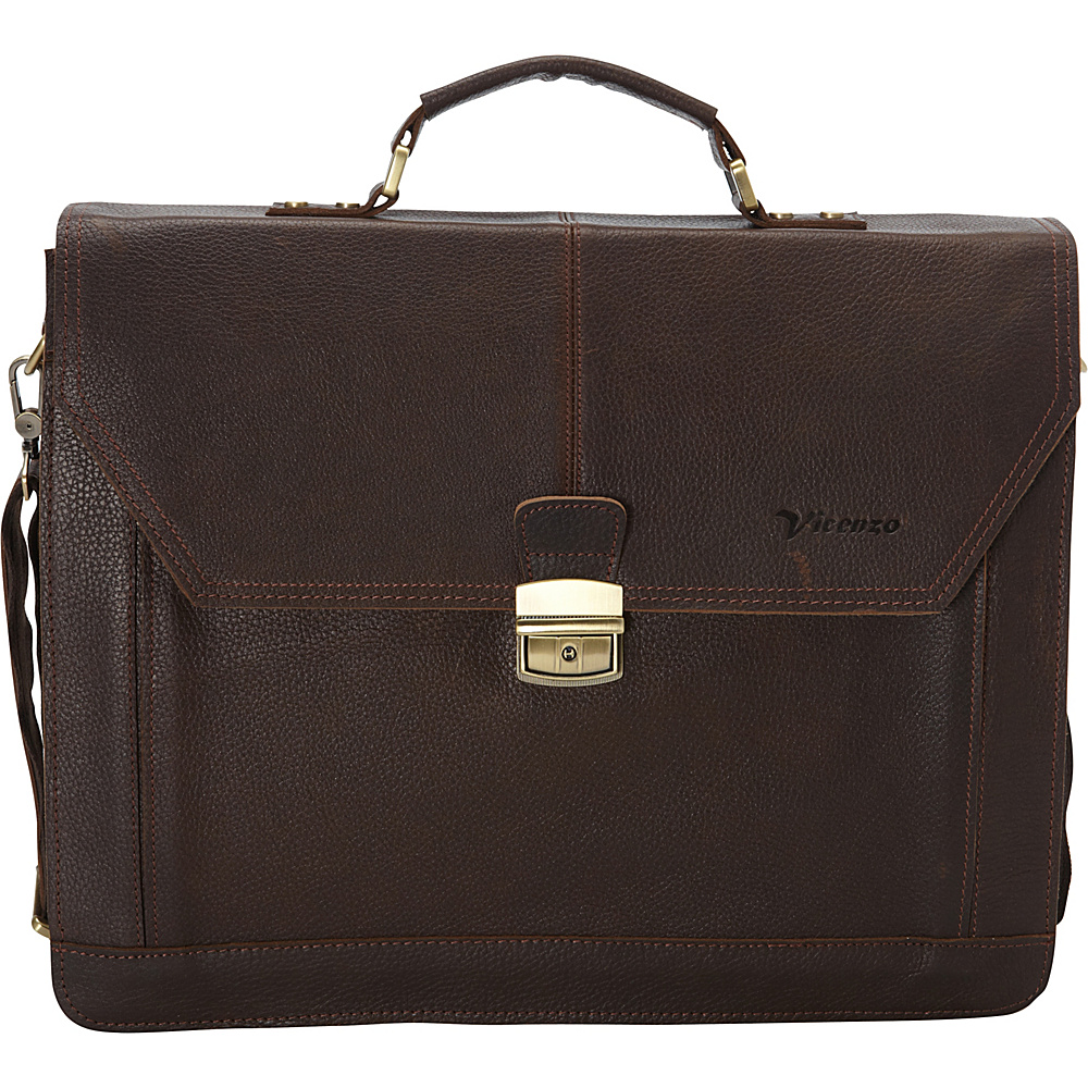 Vicenzo Leather Professional Full Grain Leather Briefcase Dark Brown Vicenzo Leather Non Wheeled Business Cases