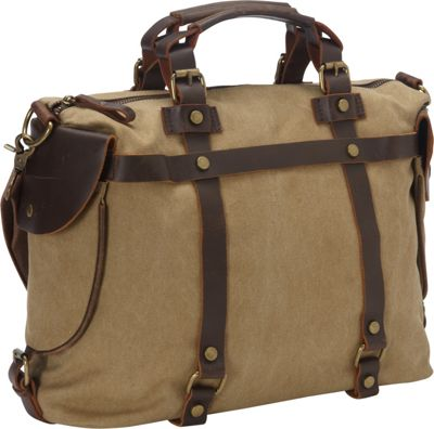 Laurex Canvas Duffle Bag with Leather Trim Khaki - Laurex Travel Duffels