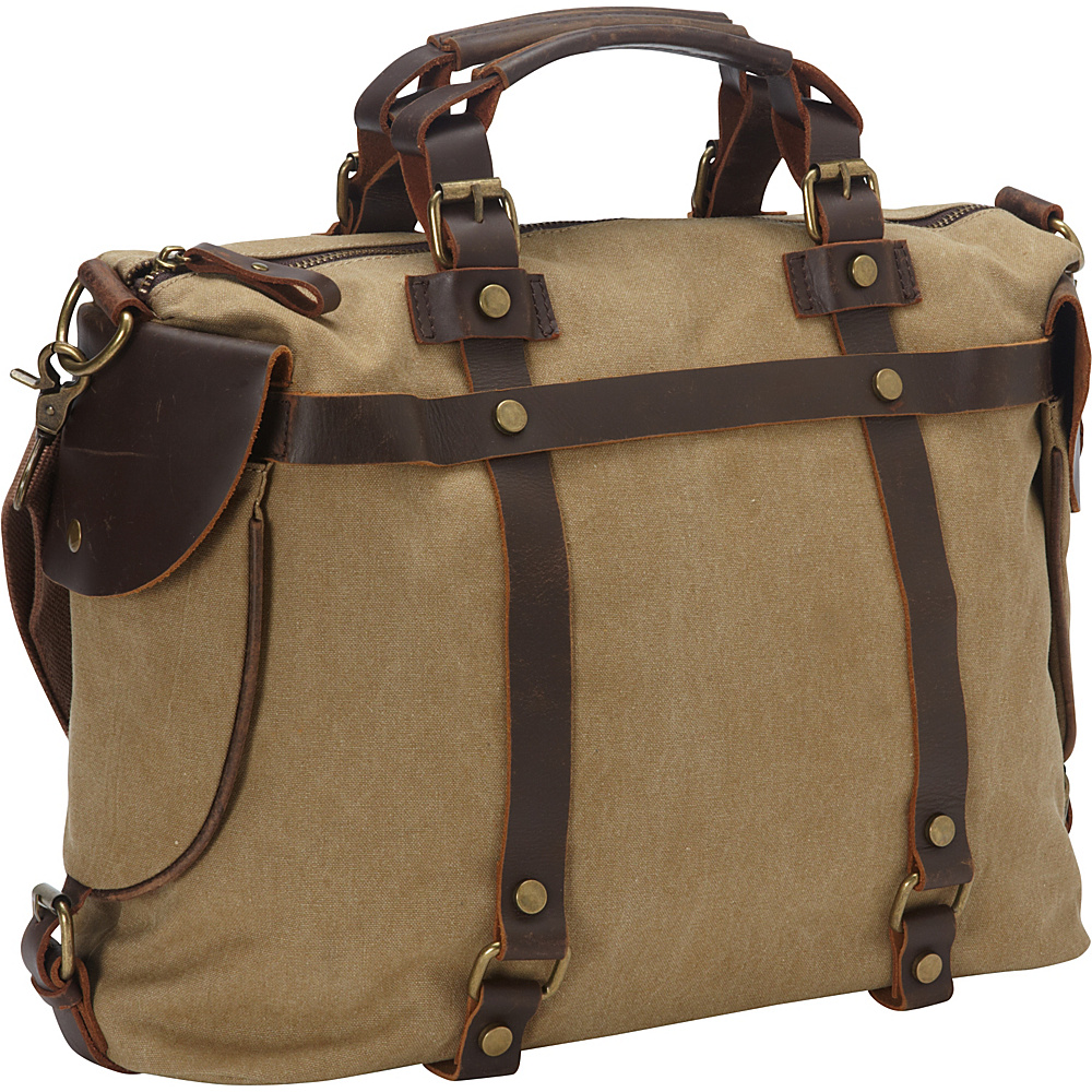 Laurex Canvas Duffle Bag with Leather Trim Khaki Laurex Travel Duffels