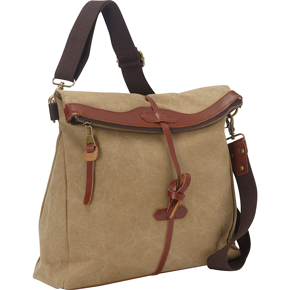 Vagabond Traveler Casual Style Cotton Canvas Art Design Messenger Bag Khaki - Vagabond Traveler Messenger Bags - Work Bags & Briefcases, Messenger Bags