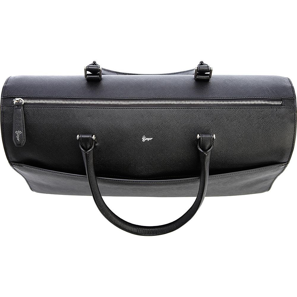 Royce Leather RFID Blocking Saffiano Leather Carry On Travel Duffle Barrel Bag Luggage Black - Royce Leather Travel Duffels