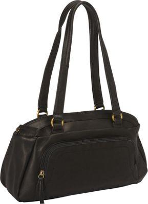 Derek Alexander E/W Top Zip Shoulder Bag with Front Organizer Black - Derek Alexander Leather Handbags