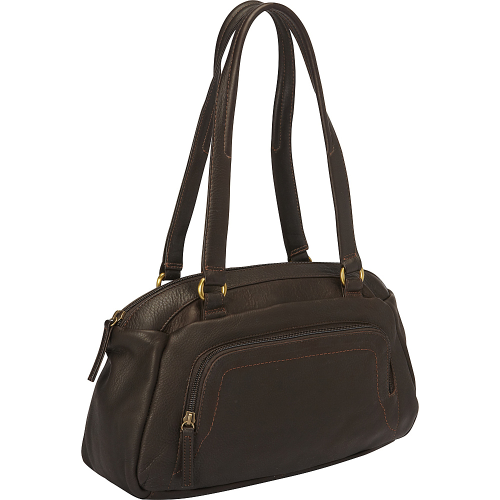 Derek Alexander E W Top Zip Shoulder Bag with Front Organizer Brown Derek Alexander Leather Handbags