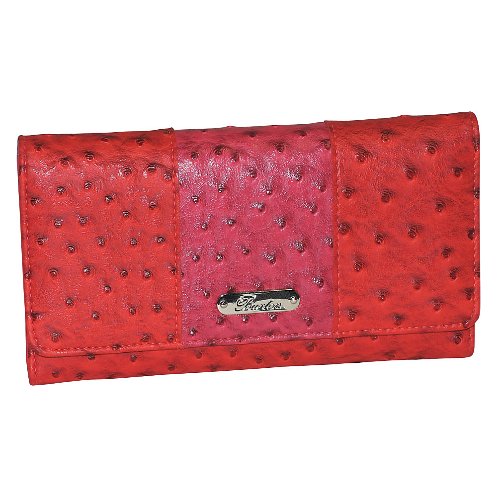 Buxton Ostrich Pop Panel Expandable Clutch Red - Buxton Womens Wallets - Women's SLG, Women's Wallets