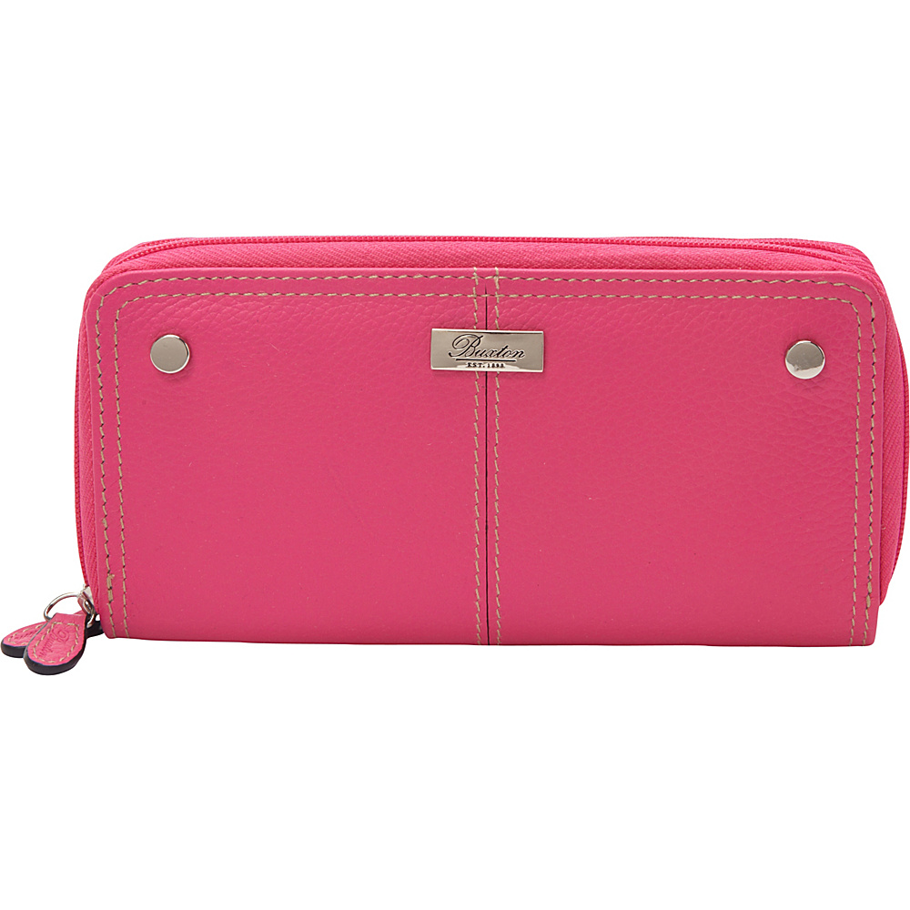 Buxton Westcott Slim Double Zip Fuchsia Pink - Buxton Womens Wallets - Women's SLG, Women's Wallets