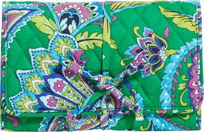 Vera Bradley All Wrapped Up Jewelry Roll Emerald Paisley - Vera Bradley Packing Aids