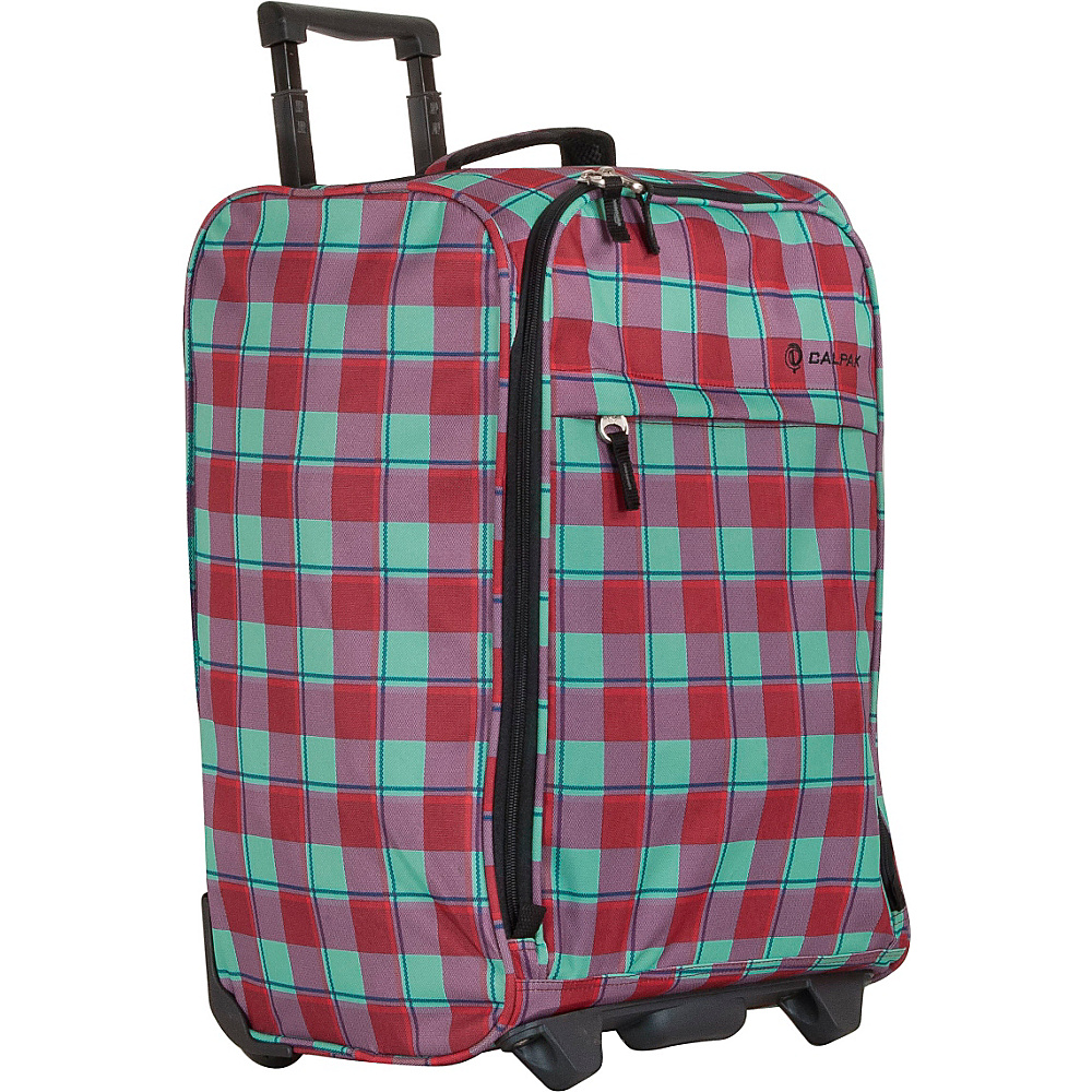 CalPak Zorro Carry On Luggage Bubble Gum Plaid CalPak Softside Carry On