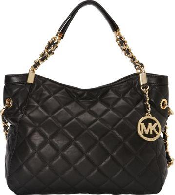 MICHAEL Michael Kors Susannah Medium Shoulder Tote Black - MICHAEL Michael Kors Designer Handbags