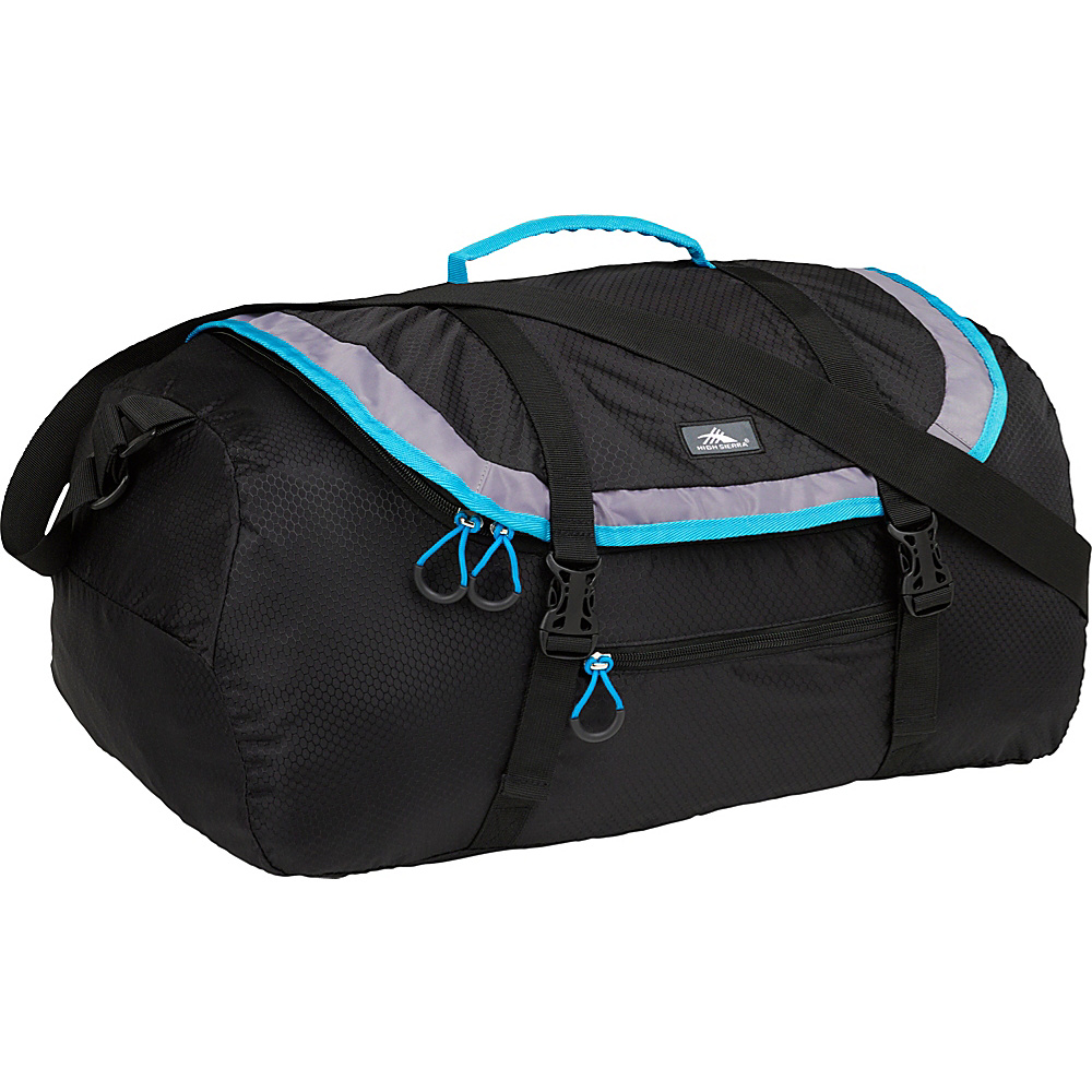 High Sierra 40L Packable Sport Duffel BLACK/CHARCOAL/POOL - High Sierra Lightweight packable expandable bags