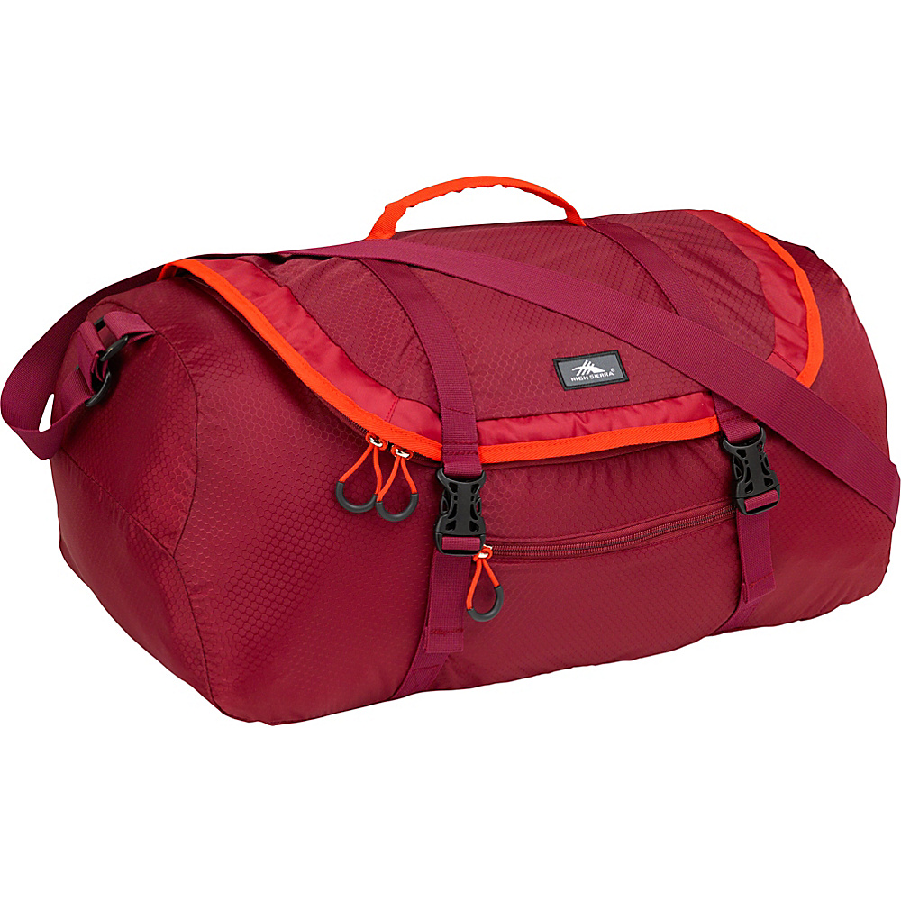 High Sierra 40L Packable Sport Duffel BRICK RED/CARMINE/RED LINE - High Sierra Lightweight packable expandable bags