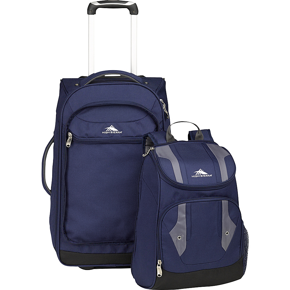 High Sierra Adventure Access Carry On Wheeled BACKPACK with removable daypack True Navy/Charcoal - High Sierra Wheeled Backpacks