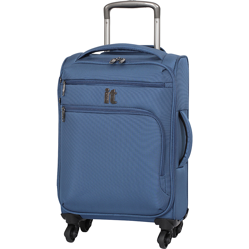 it luggage MegaLite Luggage Collection 21.9 inch Carry On Spinner eBags Exclusive Blue Ashes it luggage Softside Carry On