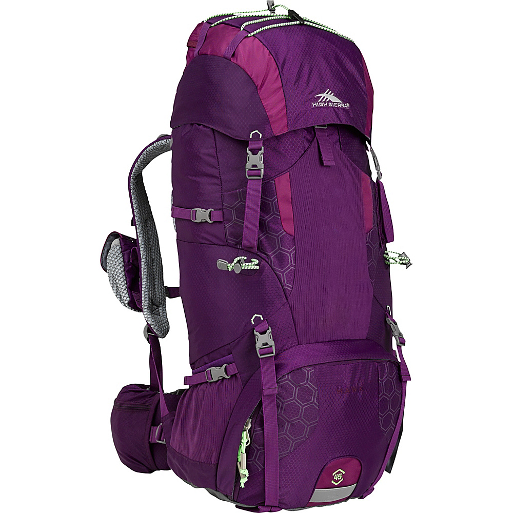 High Sierra Hawk 45 Female Frame Pack EGGPLANT/BERRY BLAST/LIME - High Sierra Day Hiking Backpacks