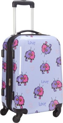 Ed Heck Luggage Multi Love Birds Hardside Spinner Luggage 21 inch Spinner Light Purple - Ed Heck Luggage Hardside Carry-On