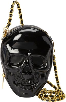 Loungefly Black 3-D Molded Skull Crossbody Bag With Chain Black - Loungefly Manmade Handbags