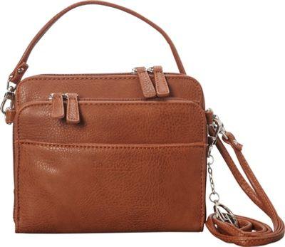 La Diva Small Crossbody with Organizer Cognac - La Diva Manmade Handbags