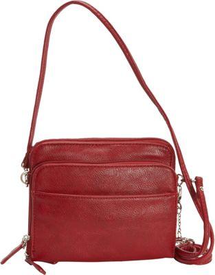 La Diva Small Crossbody with Organizer Red - La Diva Manmade Handbags