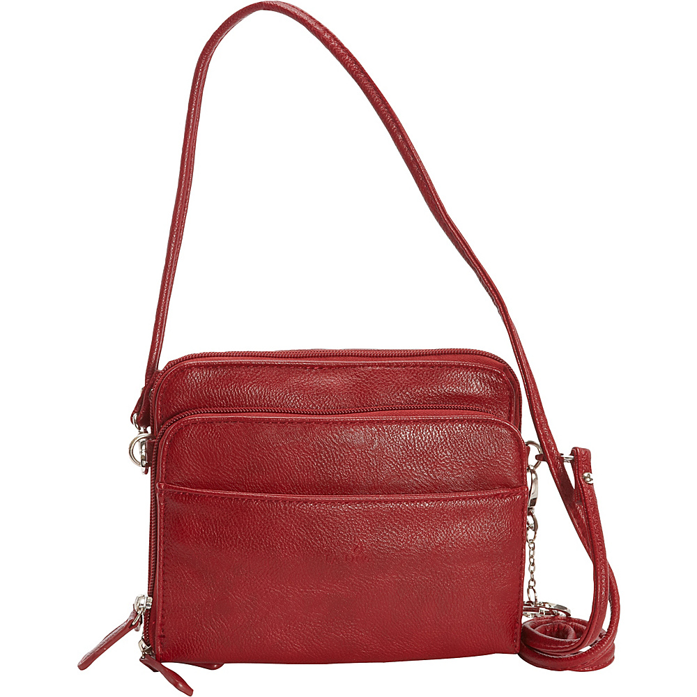 La Diva Small Crossbody with Organizer Red La Diva Manmade Handbags