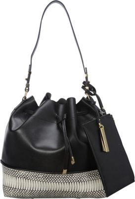 Vince Camuto Leila Snake Embossed Drawstring Tote Black/Snow White - Vince Camuto Designer Handbags