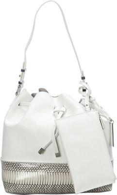 Vince Camuto Leila Snake Embossed Drawstring Tote Snow White/Snow White - Vince Camuto Designer Handbags
