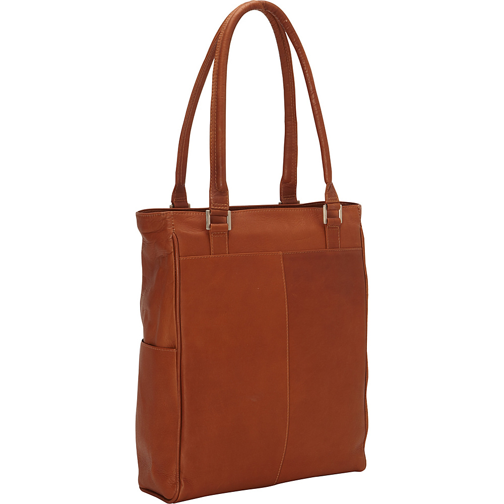 Piel Vertical Laptop Tote Saddle - Piel Non-Wheeled Business Cases - Work Bags & Briefcases, Non-Wheeled Business Cases
