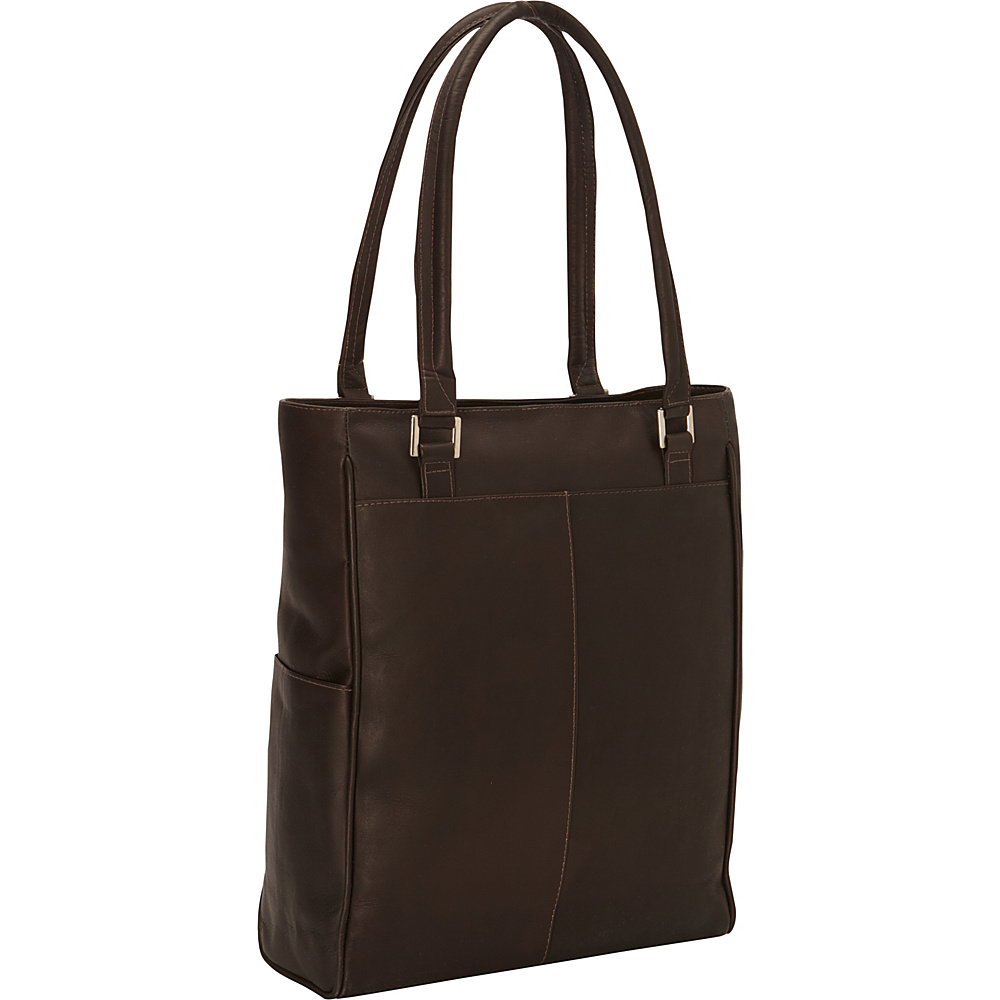 Piel Vertical Laptop Tote Chocolate - Piel Non-Wheeled Business Cases