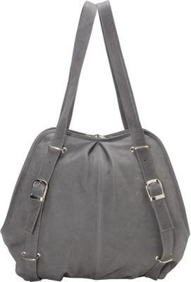 Piel Convertible Buckle Backpack Shoulder Bag Charcoal - Piel Leather Handbags