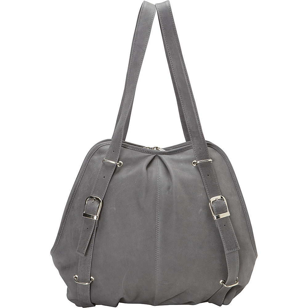 Piel Convertible Buckle Backpack Shoulder Bag Charcoal - Piel Leather Handbags