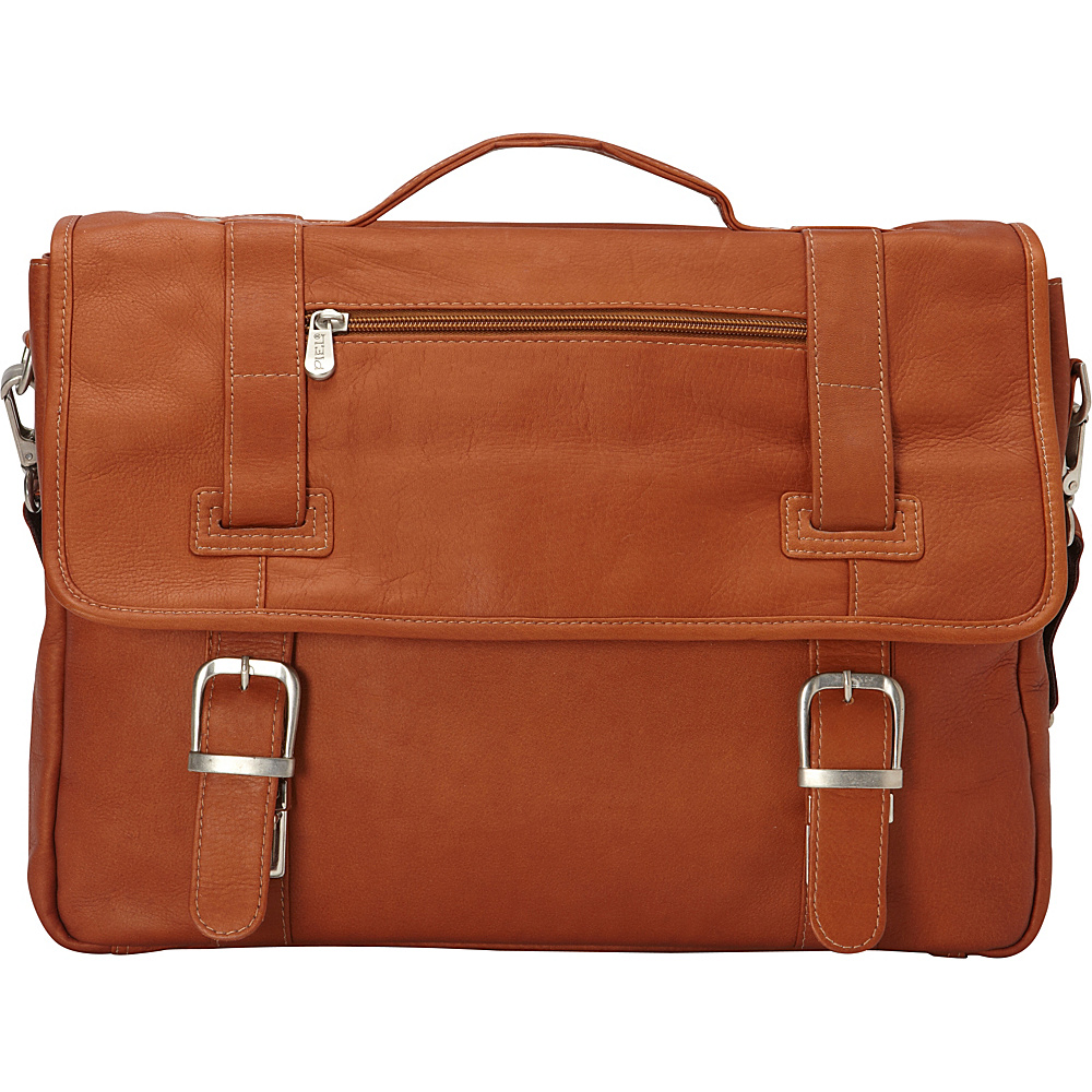 Piel Flap-Over Soft Sided Briefcase Saddle - Piel Non-Wheeled Business Cases