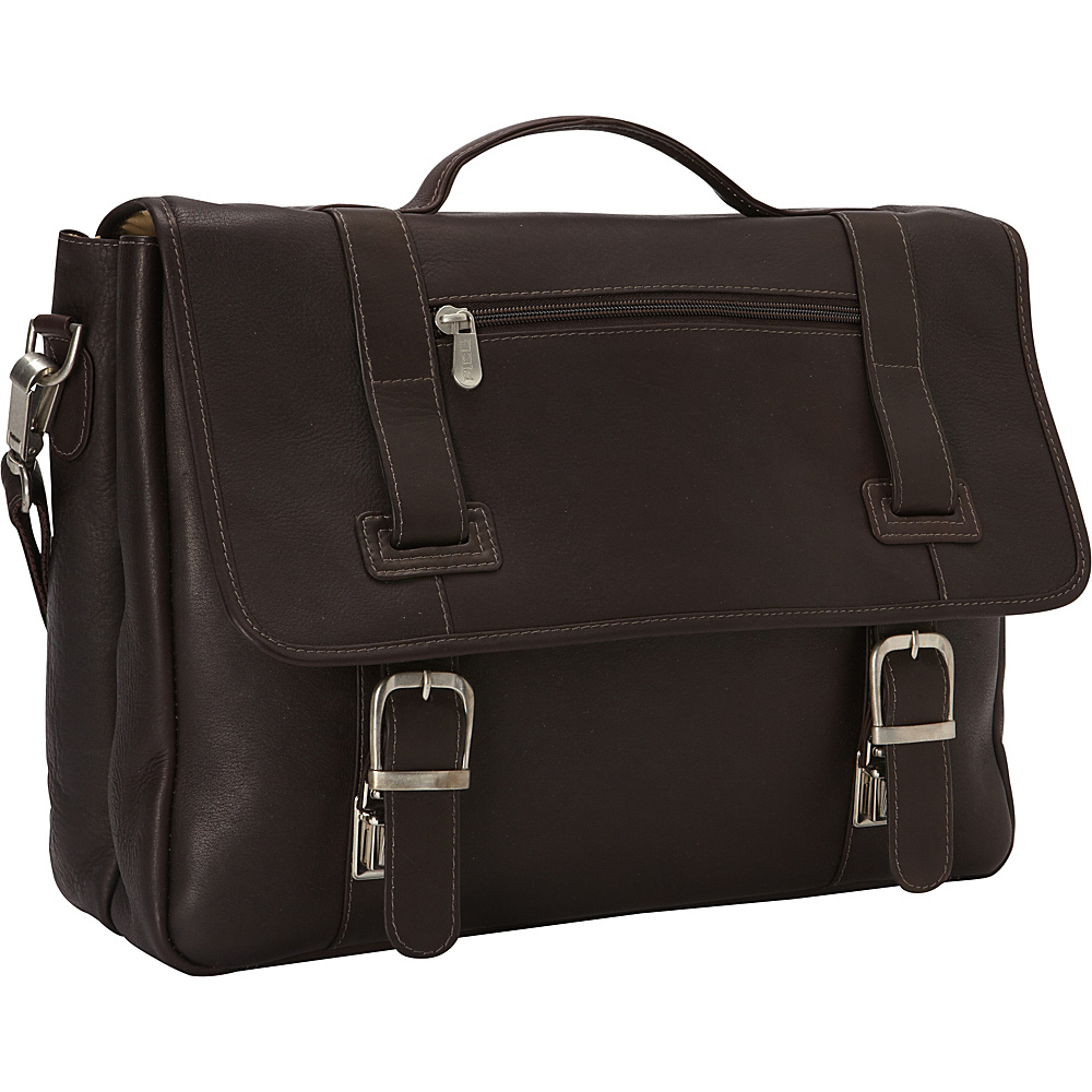Piel Flap-Over Soft Sided Briefcase Black - Piel Non-Wheeled Business Cases
