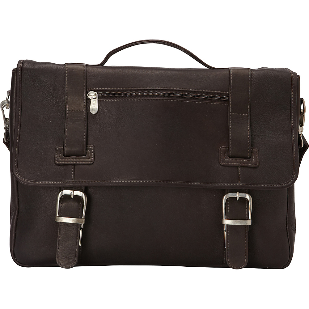 Piel Flap-Over Soft Sided Briefcase Chocolate - Piel Non-Wheeled Business Cases