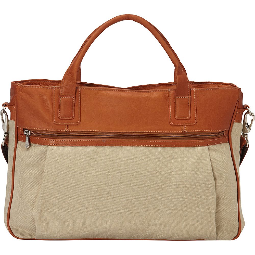 Piel Slim Laptop Briefcase Saddle - Piel Non-Wheeled Business Cases - Work Bags & Briefcases, Non-Wheeled Business Cases