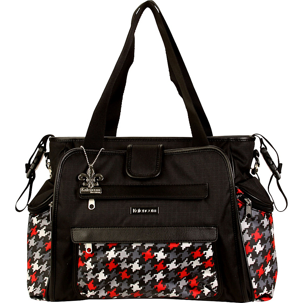Kalencom Nola Tote Diaper Bag Houndstooth Black & Red - Kalencom Diaper Bags & Accessories
