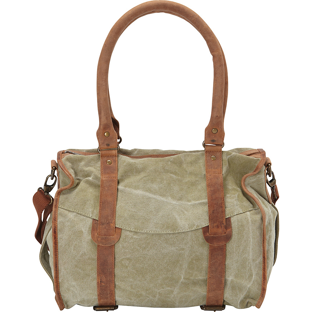 Sharo Leather Bags Mint Canvas and Leather Shoulder Bag Green and Brown Two Tone Sharo Leather Bags Leather Handbags