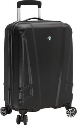 BMW Luggage 19 inch Carry-On Split Case 8 Wheel Spinner Black - BMW Luggage Hardside Carry-On