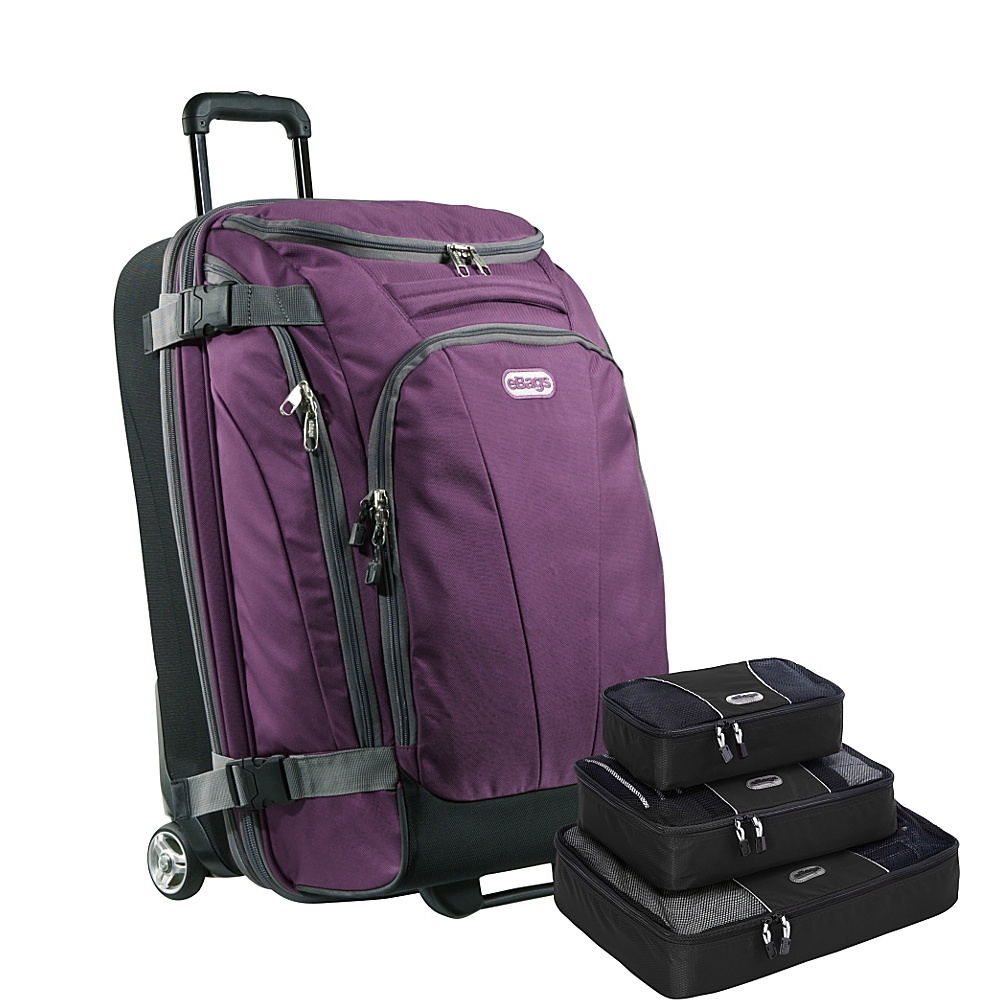 "eBags Value Set: TLS Junior 25"" Wheeled Duffel + Packing Cube Eggplant - eBags Rolling Duffels"