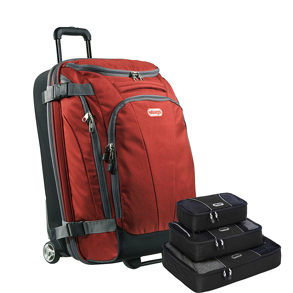 "eBags Value Set: TLS Junior 25"" Wheeled Duffel + Packing Cube Sinful Red - eBags Rolling Duffels"