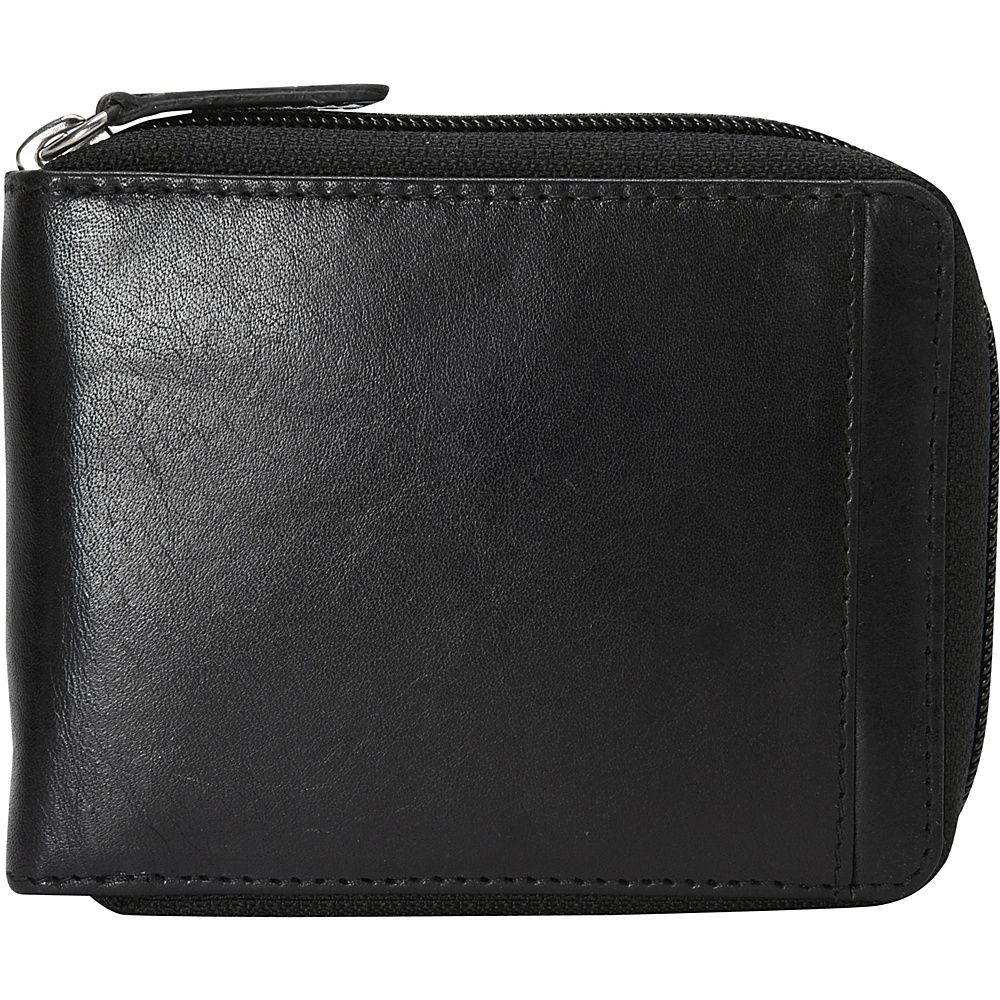 Mancini Leather Goods Mens RFID Zippered Wallet with Removable Passcase Black Mancini Leather Goods Men s Wallets