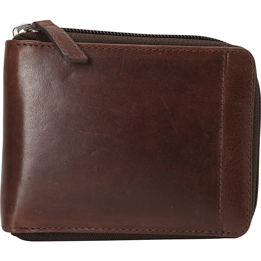 Mancini Leather Goods Mens RFID Zippered Wallet with Removable Passcase Brown Mancini Leather Goods Men s Wallets