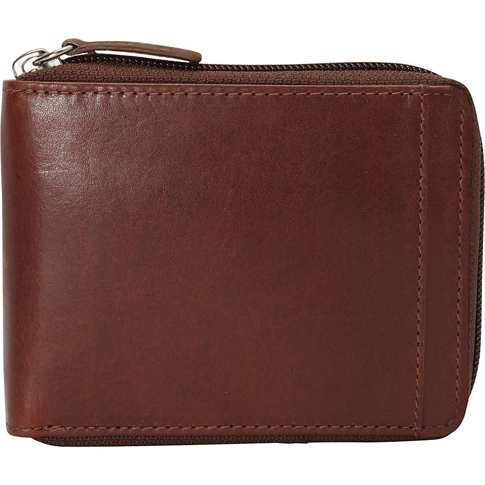 Mancini Leather Goods Mens RFID Zippered Wallet with Removable Passcase Cognac Mancini Leather Goods Men s Wallets