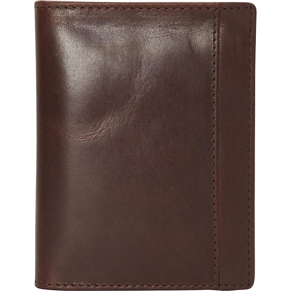 Mancini Leather Goods Mens RFID Unique Vertical Wing Wallet Brown Mancini Leather Goods Men s Wallets